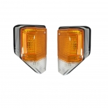 Pair 1xLH 1xRH Black Surround Corner Lights for Toyota Landcruiser 70 75 Series