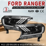 Headlights For Ford Ranger Everest 2015-ON Mustang style H11 Halo DRL pair
