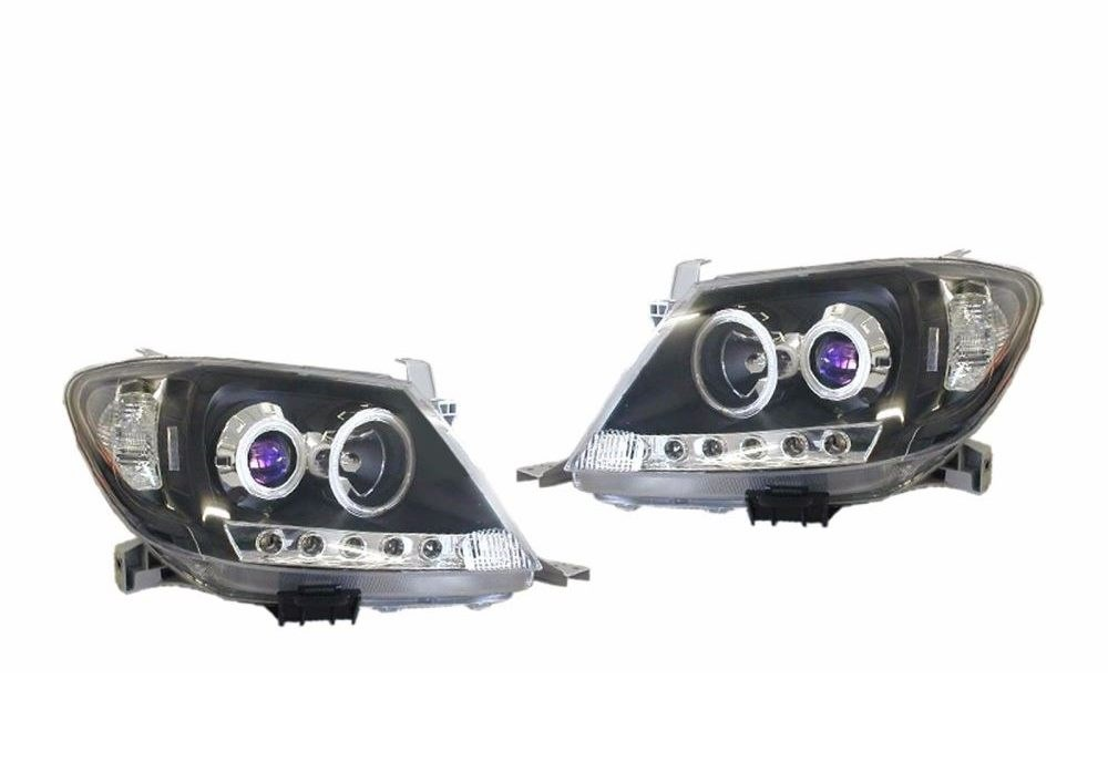 projector LED Halo black headlights for Toyota Hilux 2005-2011 NEW WITH WARRANTY