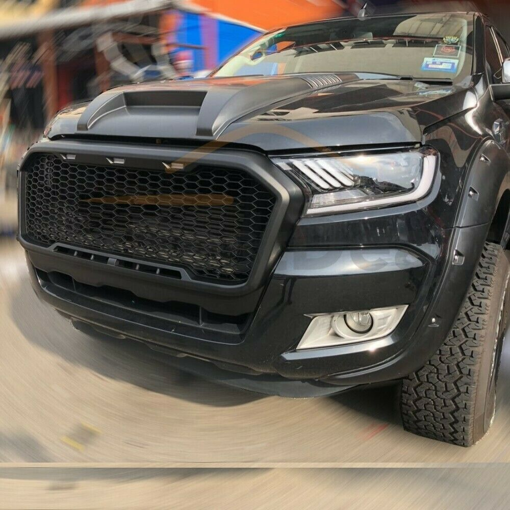 Front Grill Fits Ford Ranger PX2 2015 - 2018  LED Black